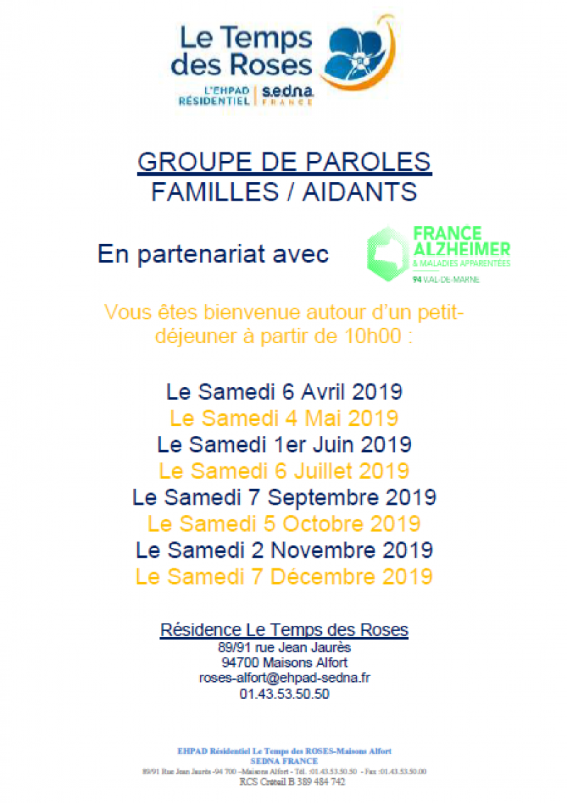 GROUPE DE PAROLES FAMILLES / AIDANTS